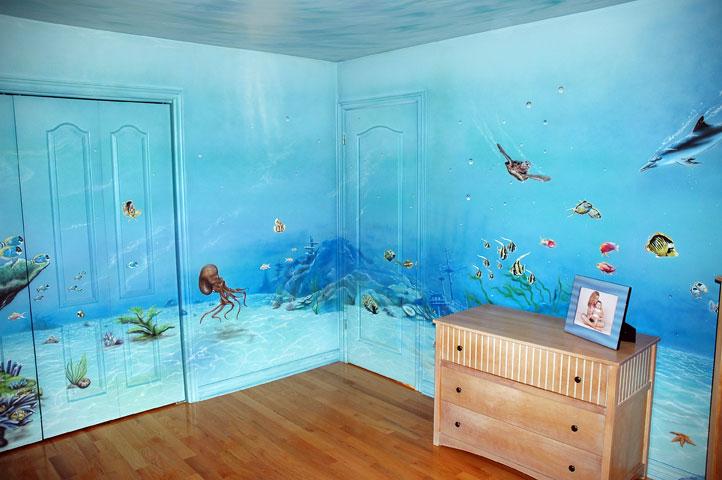 murale chambre d 39 aquarium murale par yvon pelletier mural sea world by yvon pelletier. Black Bedroom Furniture Sets. Home Design Ideas