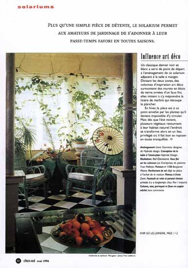 Solarium for Magazine decoration chez soi
